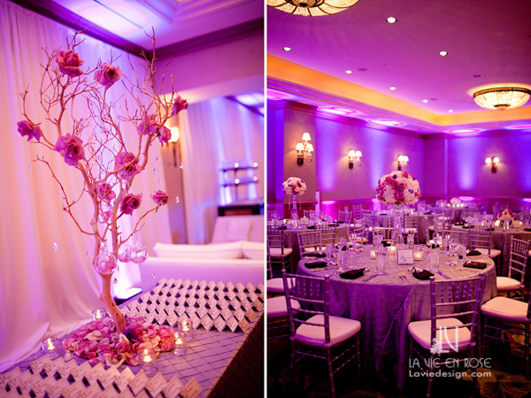 la-vie-en-rose-wedding-tall-guest-table-centerpiece-crystal-strands-purple-up-light-card-tree-branches-hanging-globes-reception-hyatt-regency-clearwater-beach-florida