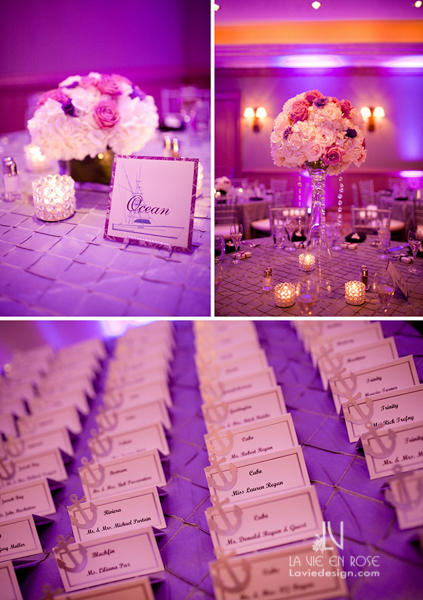 la-vie-en-rose-wedding-tall-guest-table-centerpiece-crystal-strands-purple-up-light-card-tree-hydrangea-reception-hyatt-regency-clearwater-beach-florida