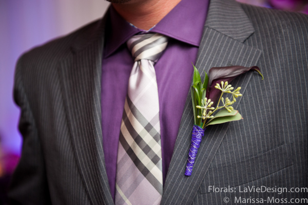 la-vie-en-rose-purple-plaid-tie-boutineer-calla-lily-hyatt-clearwater-beach-florida