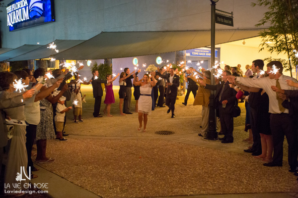 la-vie-en-rose-wedding-exit-sparklers-florida-aquarium-tampa