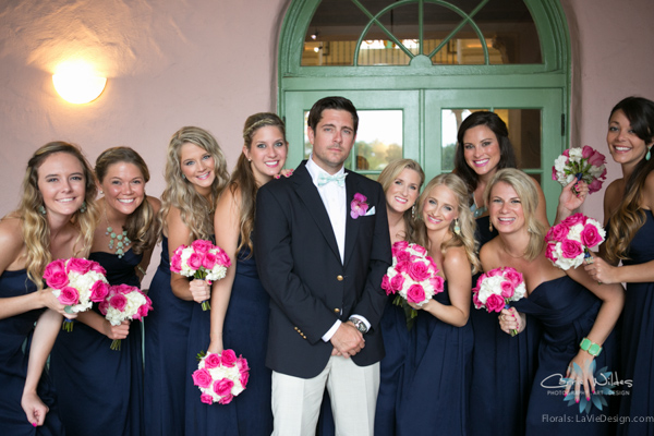 la-vie-en-rose-pink-fuschia-chevron-bride's-maid-groom-navy-white-hydrangea-bouquet-wedding-renaissance-vinoy-st.pete-florida-museum-of-fine-arts