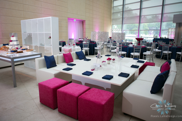 la-vie-en-rose-pink-fuschia-reception-navy-white-lounge-furniture-crystal-lamps-wedding-st.pete-florida-museum-of-fine-arts