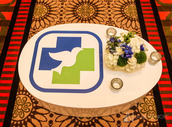 la-vie-en-rose-white-coffee-logo-sticker-blue-green-table-floor-furniture-corporate-party-sandpearl-resort-clearwater-florida-