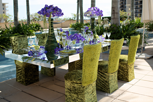 la-vie-en-rose-grace-ormonde-mirrored-table-top-blue-vanda-orchid-shoot-green-purple-miami-four-seasons-florida