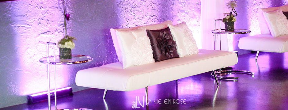 La Vie En Rose Design Green Flower Purple Light White Lounge Furniture  Rental The Knot Wedding Magazine Event Tampa