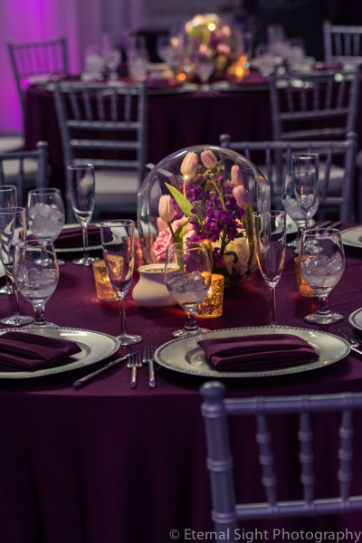 la-vie-en-rose-guest-table-centerpiece-globe-silver-tulip-orchid-wedding-purple-venue-tampa-florida