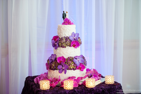 la-vie-en-rose-reception-purple-cake-table-phalaenopsis-orchid-hydrangea-candle-hyatt-clearwater-beach-florida
