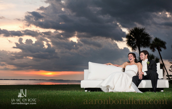 la-vie-en-rose-wedding-white-lounge-furniture-sunset-bride-groom-reception-powel-crosley-estate-sarasota-florida