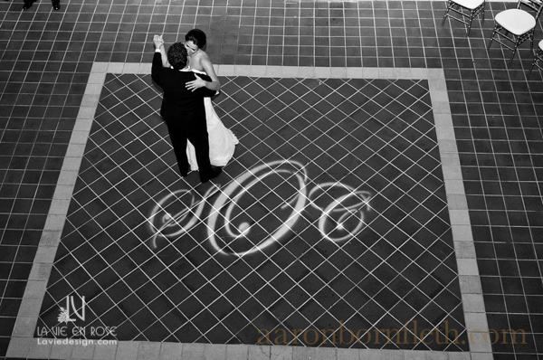 la-vie-en-rose-wedding-spot-light-monogram-dance-floor-bride-groom-reception-powel-crosley-estate-sarasota-florida