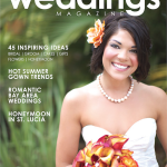La Vie en Rose Design's Yellow Mini Calla, Orange Rose Bouquet on the Cover of Tampa Bay Weddings Magazine