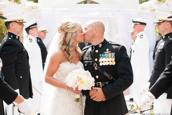 la-vie-en-rose-wedding-ceremony-kiss-marine-military-bride-and-groom-vinoy-renaissance-st-petersburg-florida