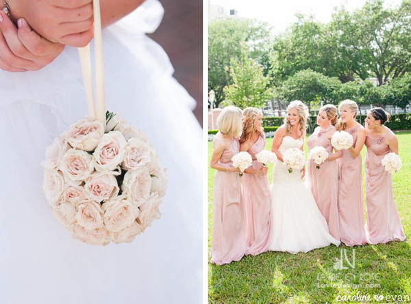 la-vie-en-rose-wedding-ceremony-bridesmaid-pale-pink-bouquet-pomander-vinoy-renaissance-st-petersburg-florida