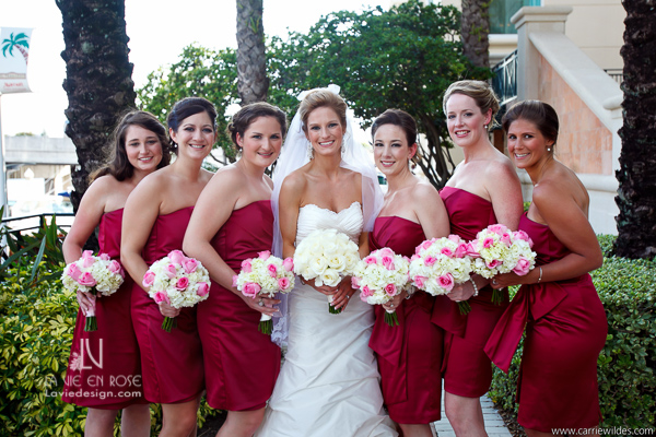 La Vie En Rose Wedding Bridesmaids Crimson Fucia Ivory Roses Fuchsia