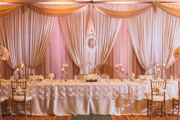 la-vie-en-rose-wedding-reception-party-table-monogram-pink-centerpiece-floating-candle-mercury-votive-carillon-hilton-hotel-st-petersburg-florida