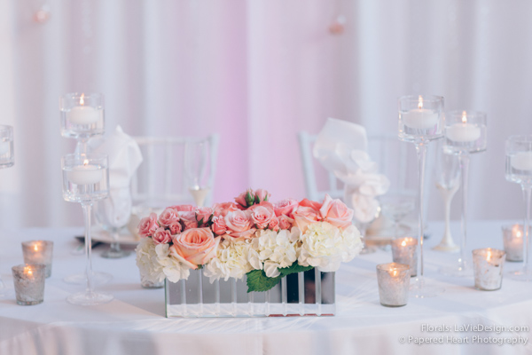 la-vie-en-rose-wedding-reception-sweetheart-table-low-mirrored-vase-white-pink-hydrangea-mercury-votive-floating-candle-drape-the-vault-downtown-tampa-florida