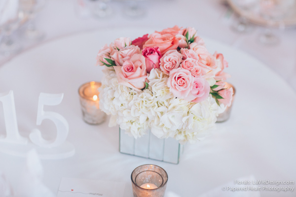 la-vie-en-rose-reception-low-mirrored-vase-mercury-votive-pink-white-hydrangea-centerpiece-the-vault-downtown-tampa-florida