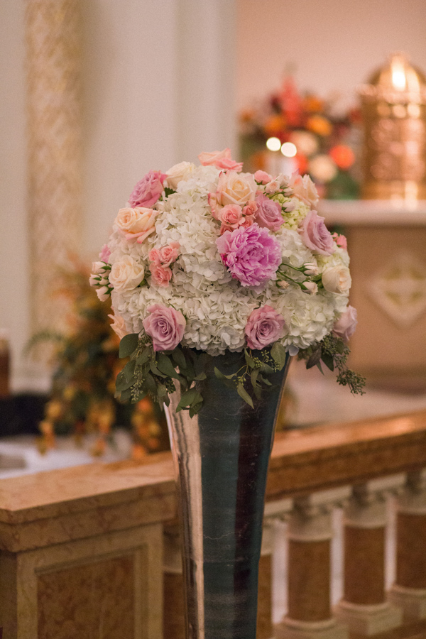 la-vie-en-rose-tampa-bay-saint-petersburg-wedding-hotel-ceremony-church-altar-decor-large-arrangement-metal-column-silver-stand-peonies-garden-roses-wedding-dress-romantic-elegant-the-vinoy