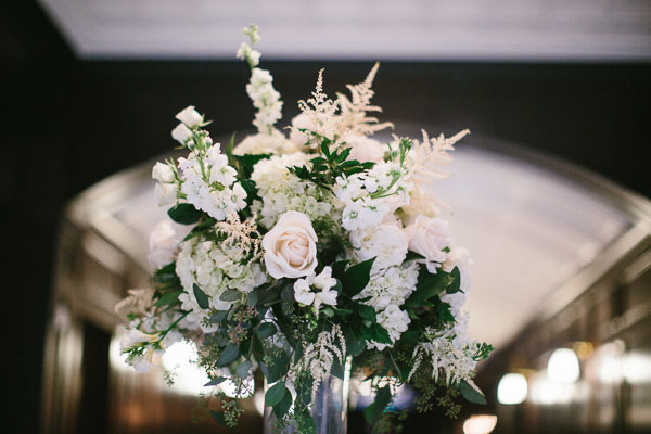 la-vie-en-rose-tampa-bay-Florida-wedding-love-ceremony-reception-flowers-large-arrangement-greenery-white-blooms-blush-roses-stock-clear-vase-astillbe-ivory-elegant-The-Oxford-Exchange