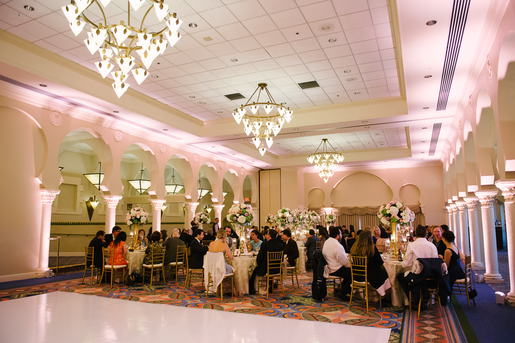 La-vie-en-rose-st-pete-florida-wedding-dance-floor-reception-white-gold-candelabra-elegant-vinoy
